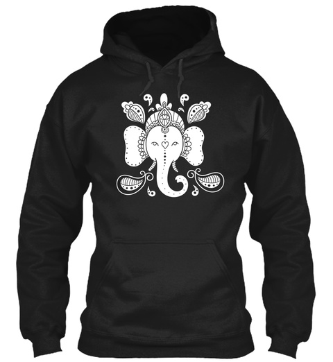 Hoodie White Elephant Yoga Black T-Shirt Front