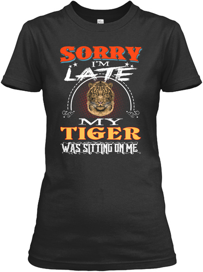 I'm So In Love With Tiger Black T-Shirt Front