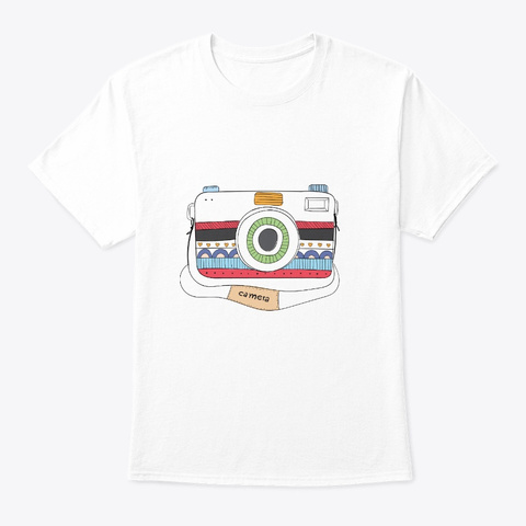 Cute Camera With A Variety Of Patterns White T-Shirt Front