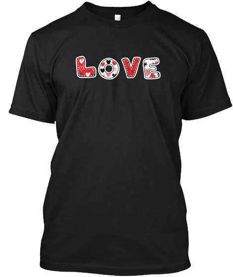 Happy Valentine's Day Love Black T-Shirt Front