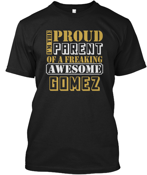 Parent Of Gomez Thing Shirts Black T-Shirt Front