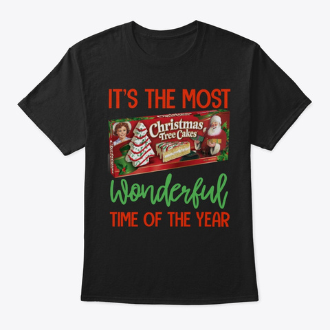 Funny Christmas Tree Cake Lover Holiday Black T-Shirt Front