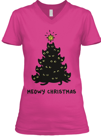 Meowy Christmas.Meowy Christmas Women S V Neck Tee