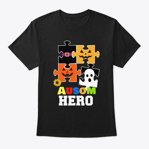 Autism Hero Boo Pumpkin Halloween Black T-Shirt Front