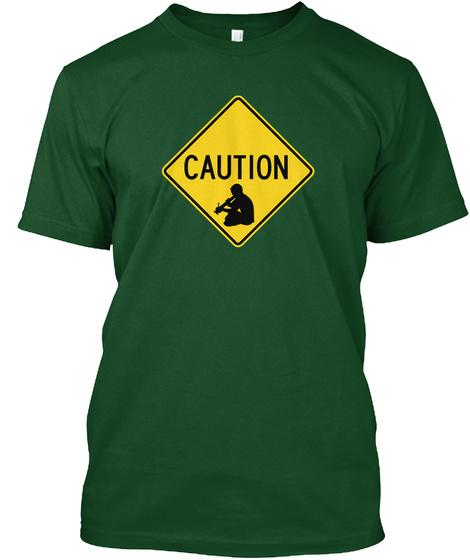 Caution Bong Crossing T Shirt Deep Forest T-Shirt Front