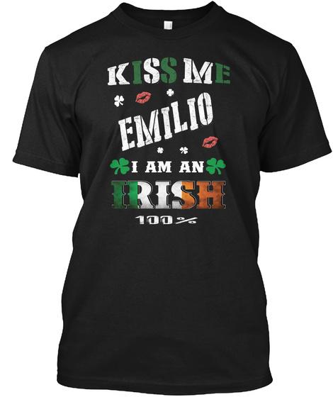 Emilio Kiss Me I'm Irish Black T-Shirt Front