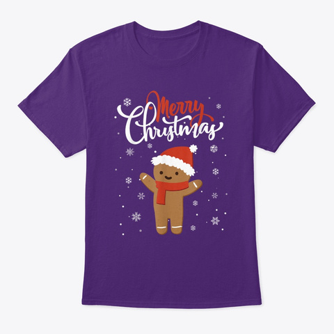 Merry Christmas Gingerbread Xmas Purple T-Shirt Front