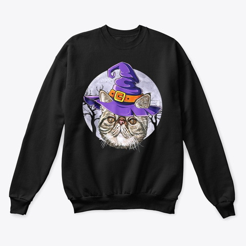 Cute Cat Witch Hat Funny Halloween Shirt Black T-Shirt Front