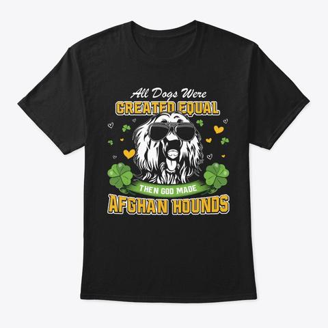 St Patricks Day Shamrock Afghan Hound Black T-Shirt Front