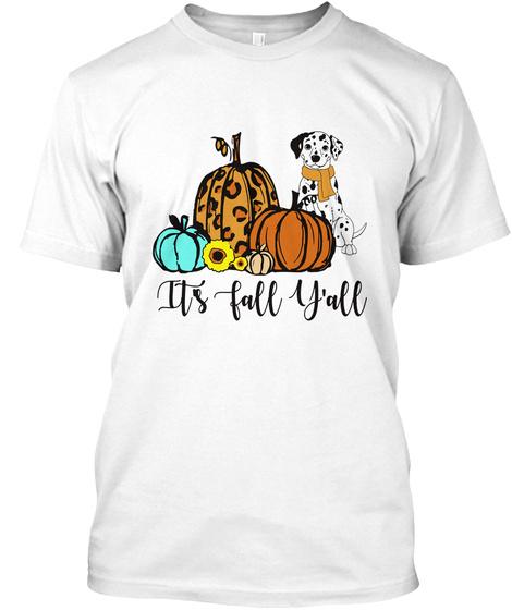 Great Dane Its Fall Yall Leopard Pumpkin White T-Shirt Front