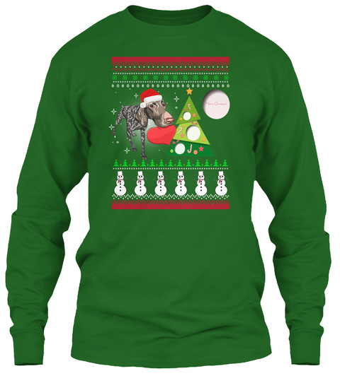 Shorthaired Pointer Ugly Christmas Sweat Irish Green T-Shirt Front