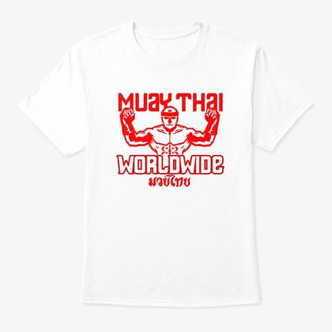 Muay Thai Worldwide Vintage Tiger Fighte White T-Shirt Front