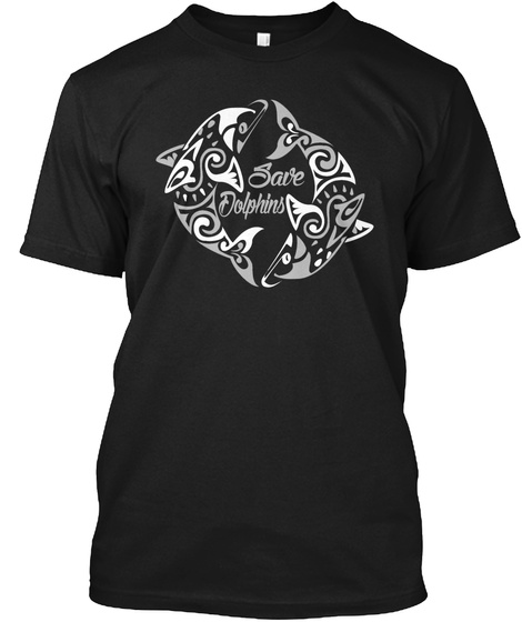 Save Dolphins Black T-Shirt Front