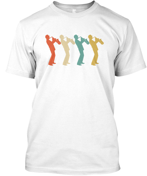 Retro Saxophone Pop Art White T-Shirt Front