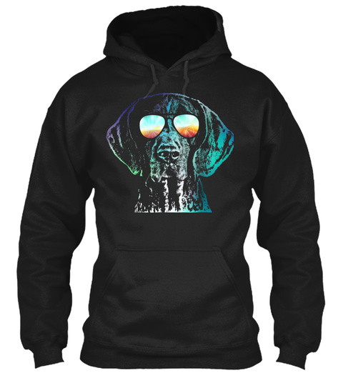 Mens German Shorthaired Pointer Neon Dog Black T-Shirt Front