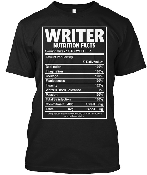 Writer Nutrition Facts Unisex Tshirt