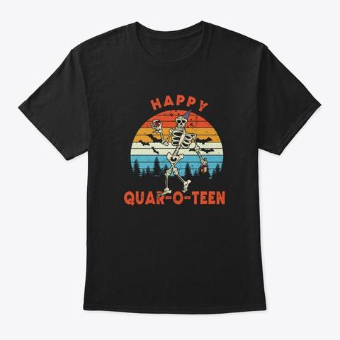 Halloween Funny  Happy Quar O Teen Black T-Shirt Front