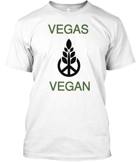 Vegas     Vegan White T-Shirt Front
