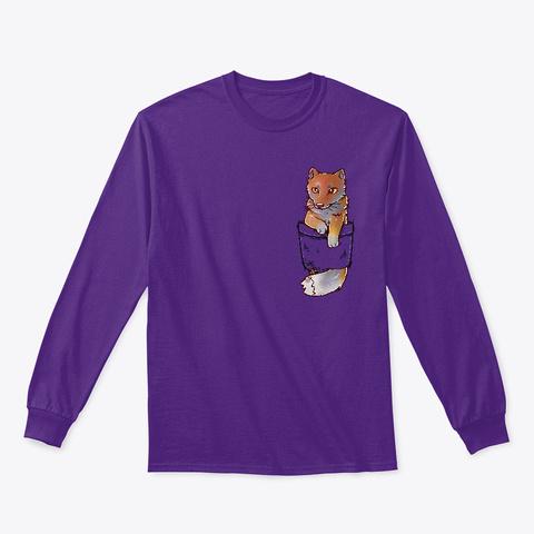Pocket Cute Tibetan Fox Purple T-Shirt Front