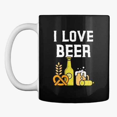 I Love Beer Mug Black T-Shirt Front