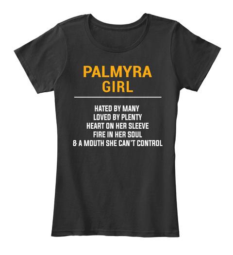 Palmyra Va Girl   Heart On Sleeve. Customizable City Black T-Shirt Front