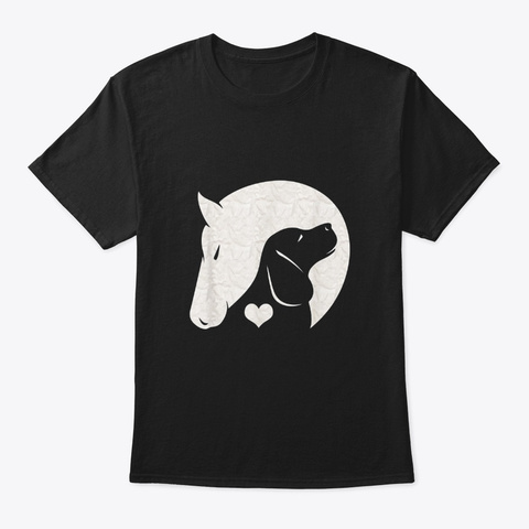 Animal Lover Distracted  Horses And Dogs Black T-Shirt Front