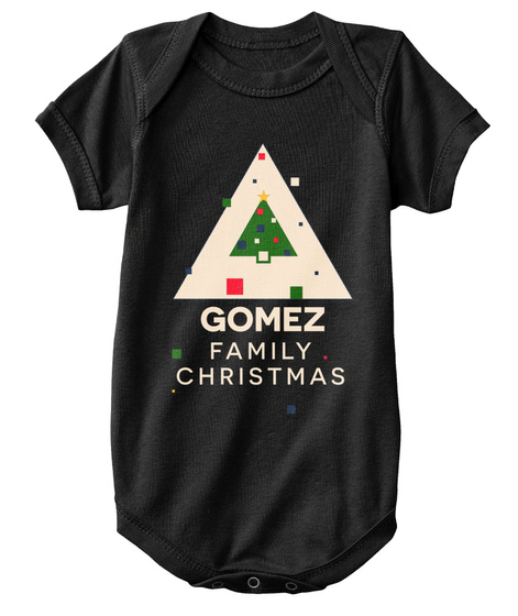 Gomez Family Christmas Black T-Shirt Front