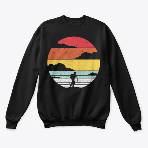 Hiking Shirt Retro Style T Shirt Black T-Shirt Front