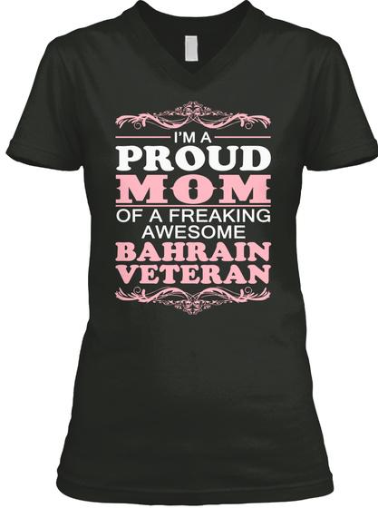Mother Day: Bahrain Veteran Mom Black T-Shirt Front