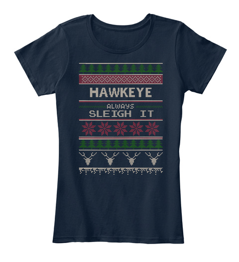 Hawkeye Always Sleigh It New Navy T-Shirt Front