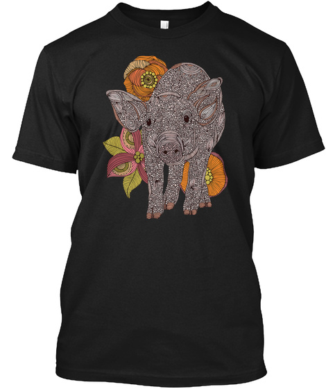 Pig Art New Black T-Shirt Front