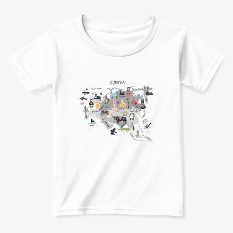 Eurasia Wildlife Map White  T-Shirt Front