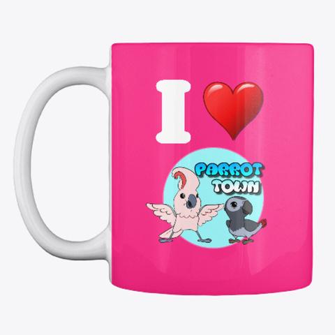 I Heart Parrot Town Groovy Mug Hot Pink Mug Front
