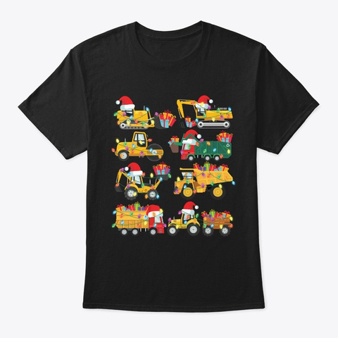 Christmas Construction Truck Gift Pajama Black T-Shirt Front
