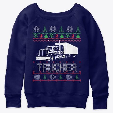 Trucker Ugly Christmas Sweatshirt Tshirt Navy  T-Shirt Front