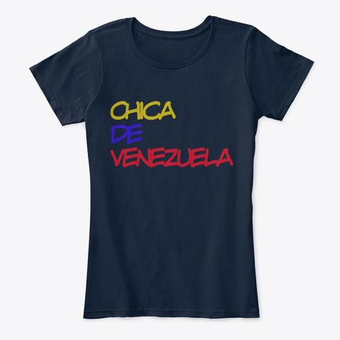 Chica De Venezuela New Navy T-Shirt Front