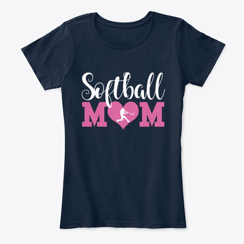 Softball Parent Gifts Softball Mom Shirt New Navy T-Shirt Front