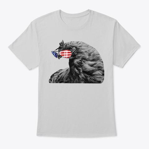 Vintage American Flag Patriot Chicken Light Steel T-Shirt Front
