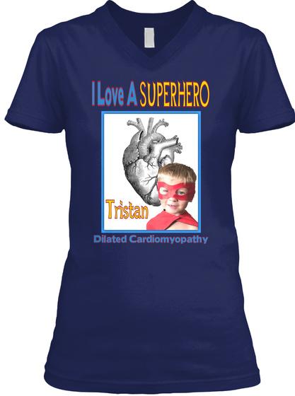 I Love A Super Hero Dilated Cardiomyopathy Navy T-Shirt Front