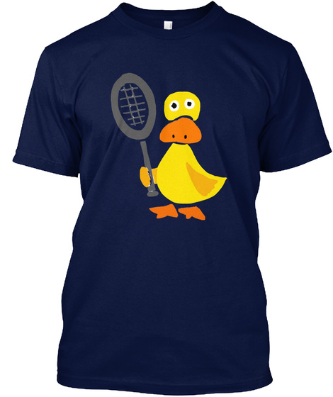 Funny Duck Playing Tennis Navy T-Shirt Front