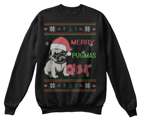Merry Pugmas Black Sweater Front