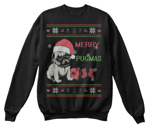 Merry Pugmas Black T-Shirt Front