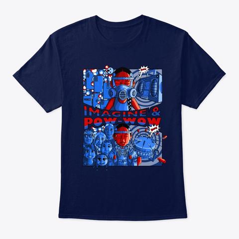 Imagine & Pow Wow   Fancy Shawl Navy T-Shirt Front
