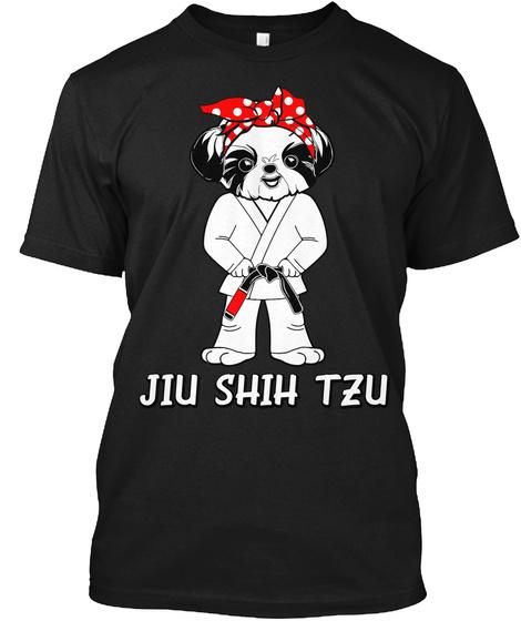 Female Jiu Shih Tzu Black T-Shirt Front