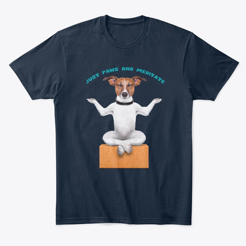 Paws And Meditate, Meditating Dog New Navy T-Shirt Front