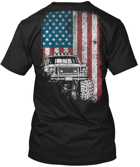 Monster Truck Flag   Off Road Trucking Black T-Shirt Back