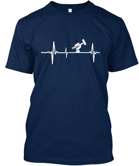Roofer Heartbeat Shirt Navy T-Shirt Front
