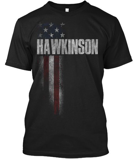 Hawkinson Family American Flag Black T-Shirt Front