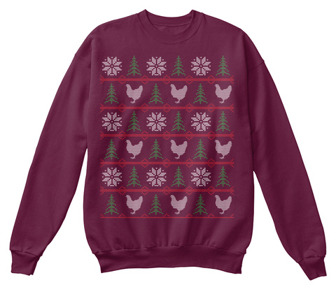 Chicken Christmas Maroon  T-Shirt Front
