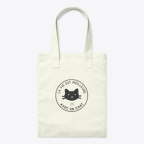 """Tote Bag """"Drôle De Chat"""" Natural T-Shirt Front"""